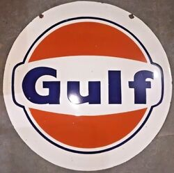 Porcelain Gulf Enamel Sign 42 Inches Round Double Sided