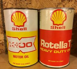 Vintage 1970's Shell Motor Oil Imperial Quart Fibre Cans X 2 Shell Oil Company