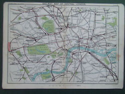 Railway Map Of Central London Vintage Bartholomews Dated 1929 7x9
