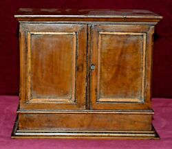 Antique Victorian Miniature Walnut Stationary Box With Ink Bottle