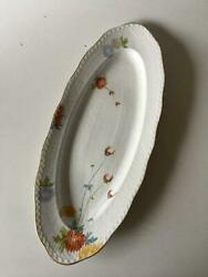 Royal Copenhagen No 93 White Half Lace W. Flowers And Gold Oval Fish Serving