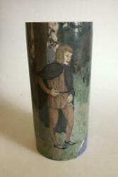 Unique Bing And Grondahl Art Nouveau Cylindrical Vase. Marked Xxviii 28 And Eh.