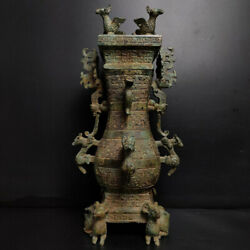 A Fine Collection Of Chinese Shang Antique Bronze Square Vases