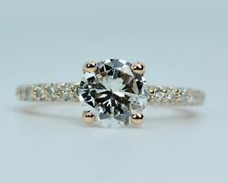 14k Rose Gold Round Diamond 1ct Center With Pave Band Engagement Ring Size 4.75