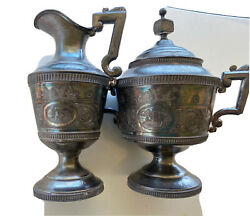 Pitcher Quadruple Plate Wilcox Silverplate Co. 8andrdquo Lidded Cup.