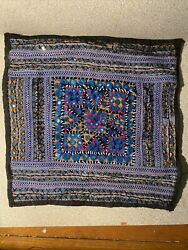 Stunning Vintage Hand Embroidered Pillow Cover Middle Eastern 14 By 13 1/2