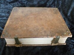 Bible, Antique, Family, Leather And Brass Bound, 19th C 1800's. Biblia German