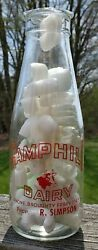 Camphill Dairy Broughty Ferry Dundee Scotland One Pint Milk Bottle 1 Pt Red Pyro