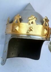 Metallic And Brass Colour One Size Medieval Armor Richard The Lionheart Helmet Gft