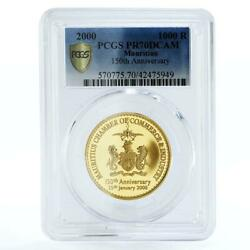 Mauritius 1000 Rupees 150th Anniversary Of Commerce Pr70 Pcgs Gold Coin 2000