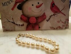 Vintage Gold Tone, Hand Knotted, Faux Pearl, Lucite, Bracelet 7ins Around