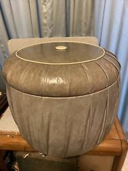 Vintage Mid Century Modern Vinyl Ottoman Foot Stool 21 By 17 Inches