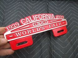 1939 California Worlds Fair Plate Tag Topper Chevy Bomb Ford Rat Rod Jalopy V8