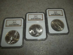 3 Lot Vintage 1922 Peace 90 Silver Dollars S1 Ngc Ms64 Nice Coins Nice L@@@@k