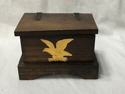 Wooden Dollhouse Strap Hinged Trunk Or Toy Box With American Eagle