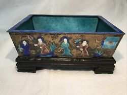 Antique Chinese Enamel On Silver Metal Repousse Planter Bowl On Wood Stand Euc