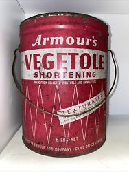8lb Armour's Vegetole Shortening A Pure Vegetable Product Tin Can With Handle Gc