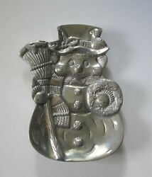 Sonoma Home Goods Cast Aluminum Metal Polished Snowman Tray Holiday Christmas