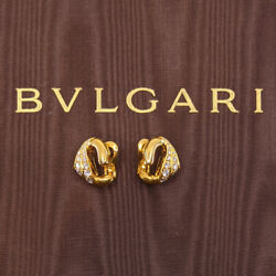 Authentic Pre-owned Bvlgari 18k Yellow Gold Diamond Omega Back Earrings 18289