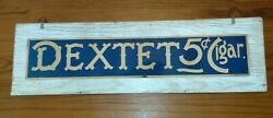 Antique Dextet 5 Cent Cigar Cardboard Sign Rare Tobacco Store Display Advertise