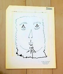 """Pablo Picasso 12 X 9"""" -face- Signed Ink On Paper Drawing"""