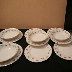 Ws George Set 8 Small Plates And 4 Small Bowls Cross Stitch Floral Radisson