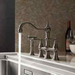 Brushed Nickel Bridge Swiveling Spout Kitchen Faucet With Pull-out Side Spray