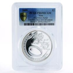 Niue 2 Dollars Christmas Golden Rings Pr69 Pcgs Proof Silver Coin 2009