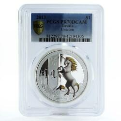 Tuvalu 1 Dollar Mythical Creatures Series Unicorn Pr70 Pcgs Silver Coin 2013