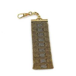 Vintage Art Deco 18k Yellow And White Gold Long Mesh Chain Pocket Watch Fob