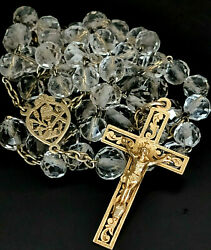 19 C French Rosary Rock Crystal Sterling Solid Silver Gold Plated Cross Crucifix
