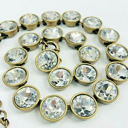 J Crew Brulee Necklace Clear Rhinestone Dots Antique Gold Tone Choker