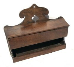Early Antique 18th Century Oak Salt Box And Candle Holder Circa 1700 / 1720
