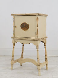 Vintage Painted Wood Copper Lined Smoking Stand End Table Cabinet Humidor /c