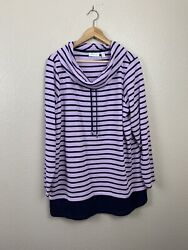 Denim And Co Active 1x Waffleknit Striped Knit Tunic Top
