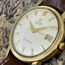1960s Antique Omega Seamaster Date Automatic 21 Jewels Ss 34mm 37mm X