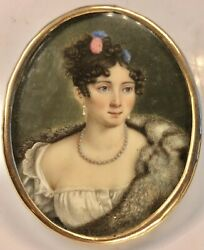 Antique 19th Century Gold Frame Oval Fine Miniature Portrait Signed Dated 1828