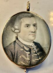 Antique 18th Century Oval Gold Frame Fine Miniature Portrait Signed Dated 1775
