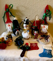 Lot Of 15 Assorted Handmade Handpainted Christmas Ornaments Vintage Unique 2