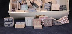Vintage 52 Assorted Painted Wood Toy Alphabet And Building Blocks