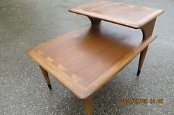 Two 2 Mid-century Modern Lane Acclaim Two-tiered Walnut End Tables