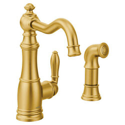 Moen S72101bg Weymouth Low-arc Kitchen Faucet With Side Spray In Brushed Gold
