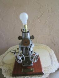 Industrial Steampunk Style Metal Pipe Gear Chain Parts Wood Base Table Lamp