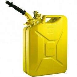 Authentic Nato Wavian Military Fuel/gas/diesel Steel Can - Yellow W/ Spout