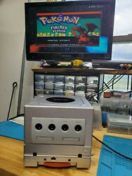 Sliver Gamecube With Gameboy Player, Region Switch Mod, And Red Led
