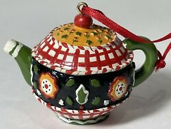 Mary Engelbreit Miniature Teapot Ornament Green Red Black Flowers Me Ink