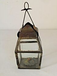 Antique Tin And Glass Candle Lantern Small Has Interior Candle Holder American