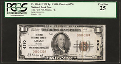 Fl 1929 100 Very Low S/nd000030a ♚♚miami Florida♚♚ Pcgs Vf 25