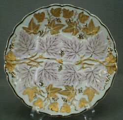 Andrea Sadek Relief Molded Gold Grapes And Pink Leaves 8 1/4 Plate C. 1936-50s A