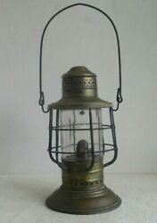 Antique Ww 1 Brass Deck Ship's Lantern Universal Metal And Spinning Lamp Co. Ny